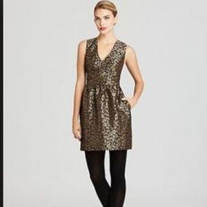 Tegan Kitty Jacquard V-Neck Dress